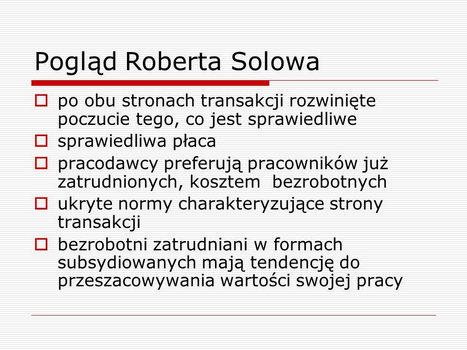 Pogląd Roberta Solowa  po obu stronach transakcji rozwinięte poczucie tego, co jest sprawiedliwe  sprawiedliwa płaca  pracodawcy preferują pracowni