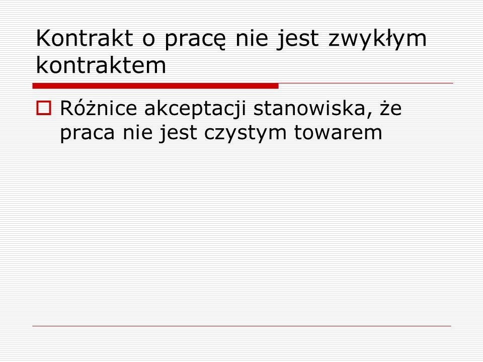 W teorii ustroju pracy wielu państw uznaje się, że indywidualny pracownik jest wyraźnie słabszą stroną kontraktu o pracę Pogląd podzielany w ramach polskiego ustroju pracy