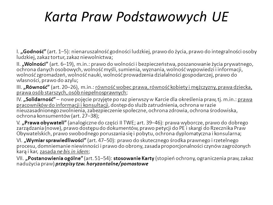 """Karta Praw Podstawowych UE I. """"Godność (art."""