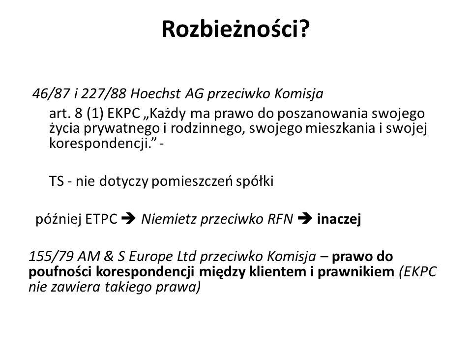 Rozbieżności. 46/87 i 227/88 Hoechst AG przeciwko Komisja art.