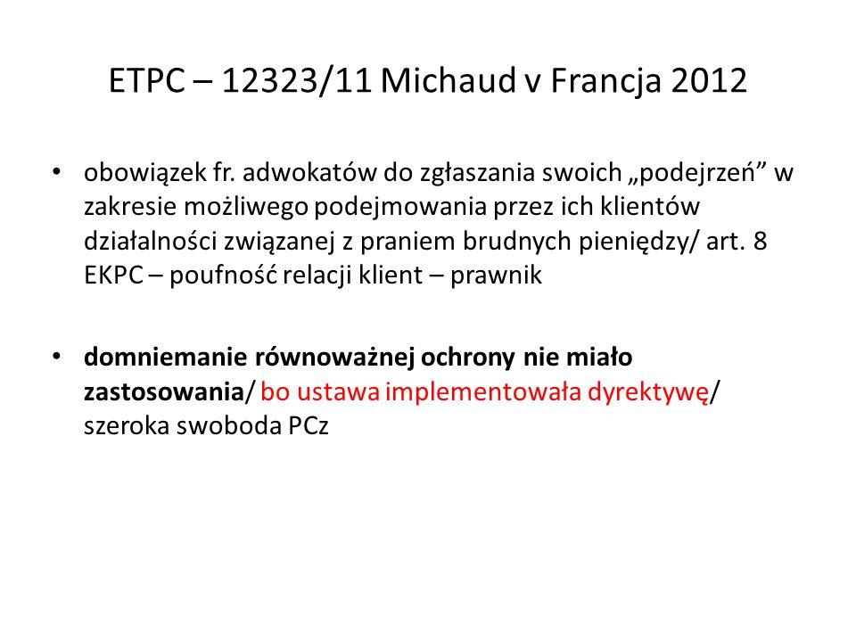 ETPC – 12323/11 Michaud v Francja 2012 obowiązek fr.