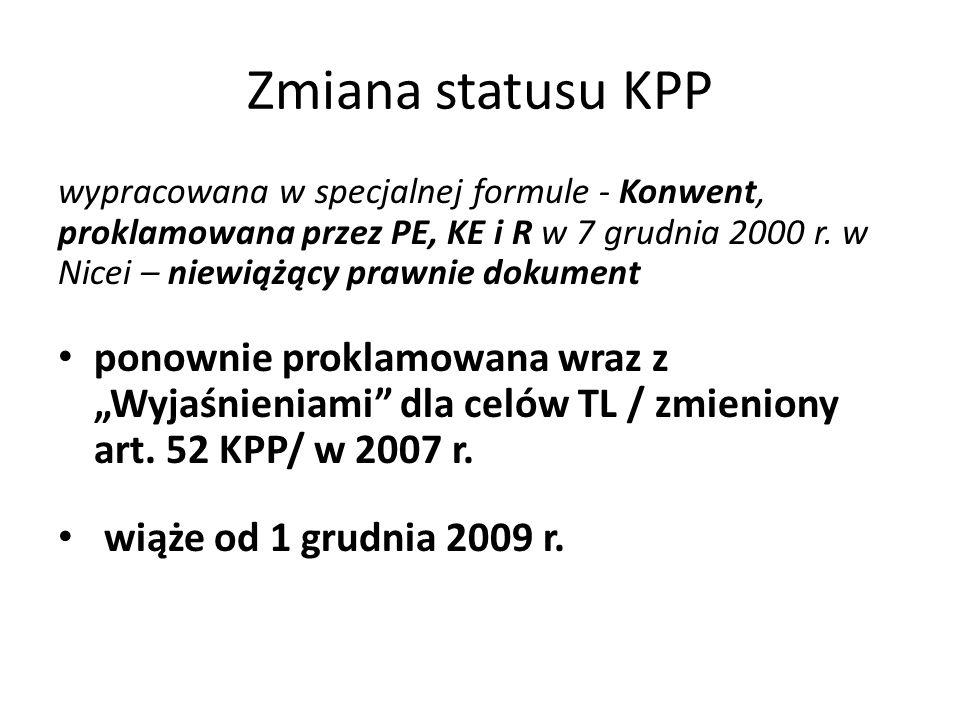 Zmiana statusu KPP wypracowana w specjalnej formule - Konwent, proklamowana przez PE, KE i R w 7 grudnia 2000 r.