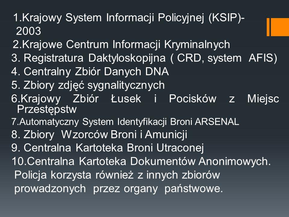 1.Krajowy System Informacji Policyjnej (KSIP)- 2003 2.Krajowe Centrum Informacji Kryminalnych 3. Registratura Daktyloskopijna ( CRD, system AFIS) 4. C