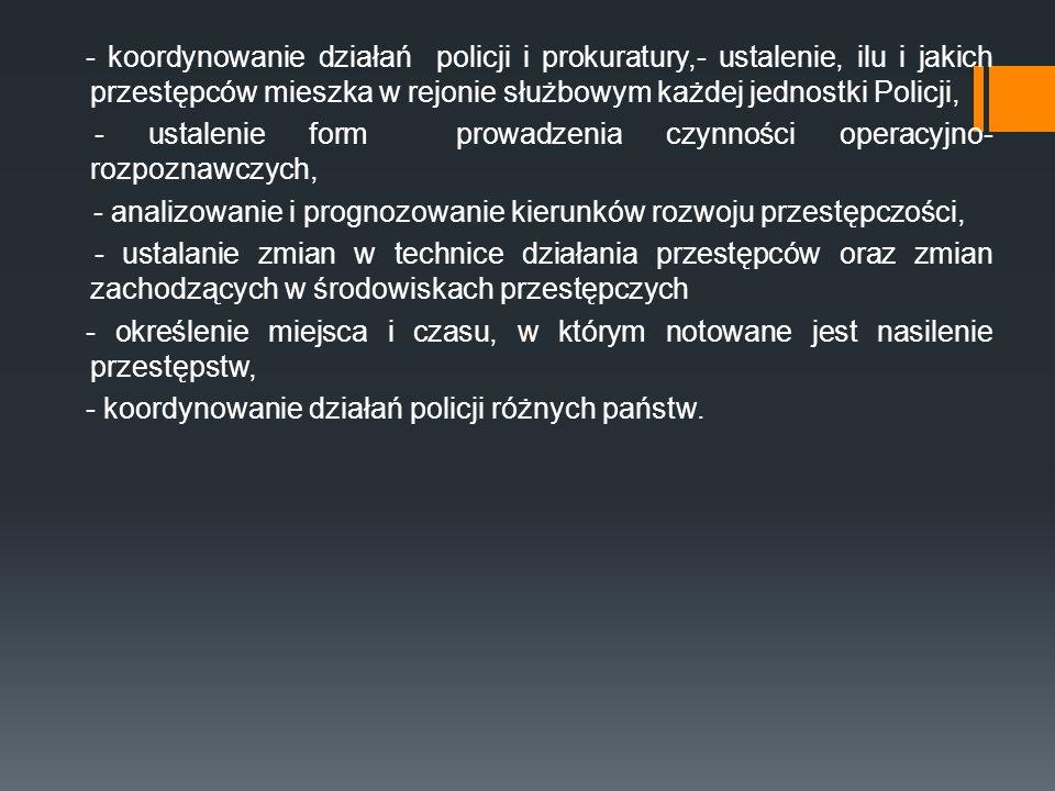 - koordynowanie działań policji i prokuratury,- ustalenie, ilu i jakich przestępców mieszka w rejonie służbowym każdej jednostki Policji, - ustalenie