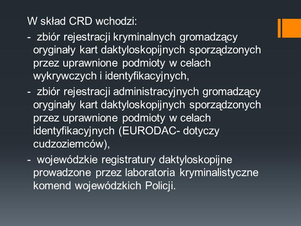 W skład CRD wchodzi: - zbiór rejestracji kryminalnych gromadzący oryginały kart daktyloskopijnych sporządzonych przez uprawnione podmioty w celach wyk
