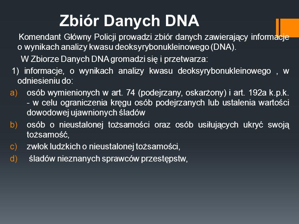 Zbiór Danych DNA Komendant Główny Policji prowadzi zbiór danych zawierający informacje o wynikach analizy kwasu deoksyrybonukleinowego (DNA). W Zbiorz