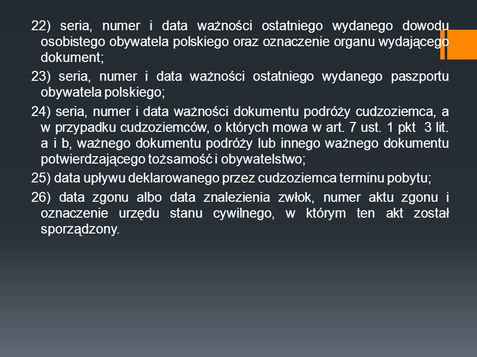 22) seria, numer i data ważności ostatniego wydanego dowodu osobistego obywatela polskiego oraz oznaczenie organu wydającego dokument; 23) seria, nume