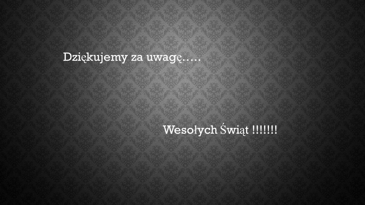 Dzi ę kujemy za uwag ę ….. Weso ł ych Ś wi ą t !!!!!!!