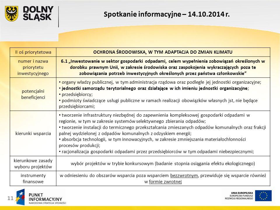 11 Spotkanie informacyjne – 14.10.2014 r.