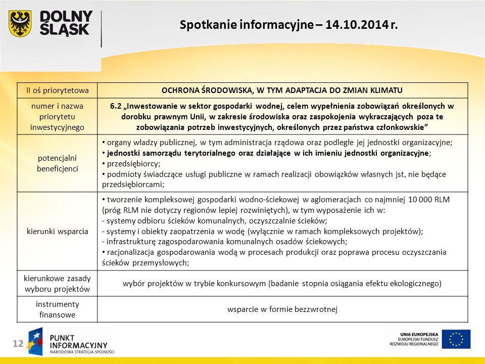 12 Spotkanie informacyjne – 14.10.2014 r.