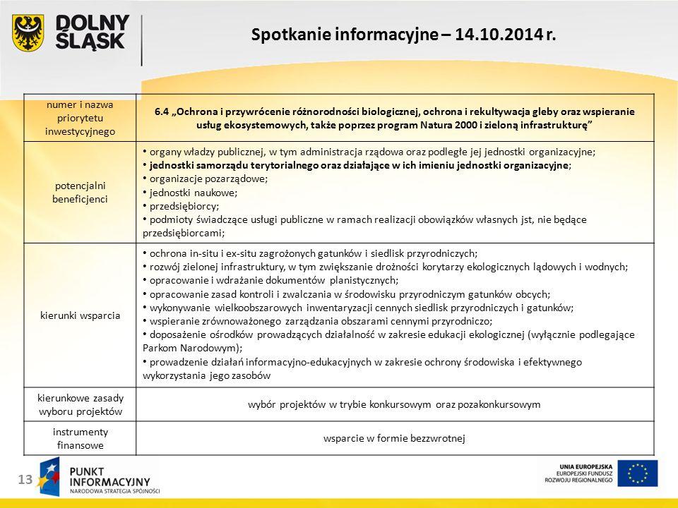 13 Spotkanie informacyjne – 14.10.2014 r.