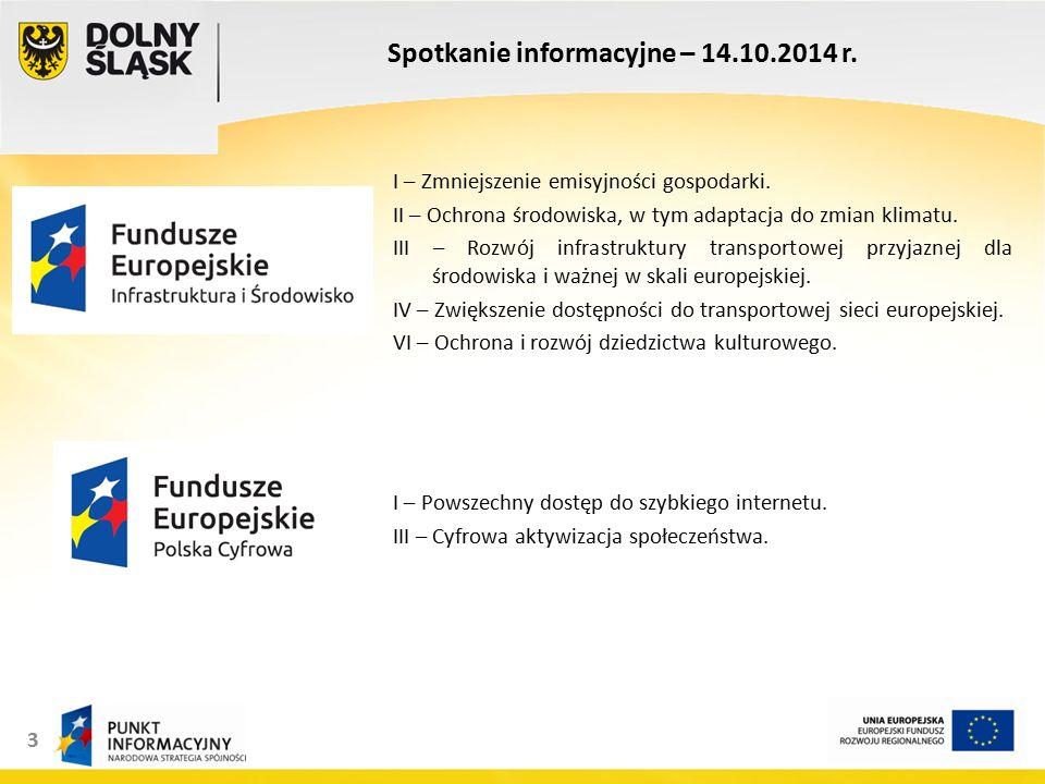 14 Spotkanie informacyjne – 14.10.2014 r.