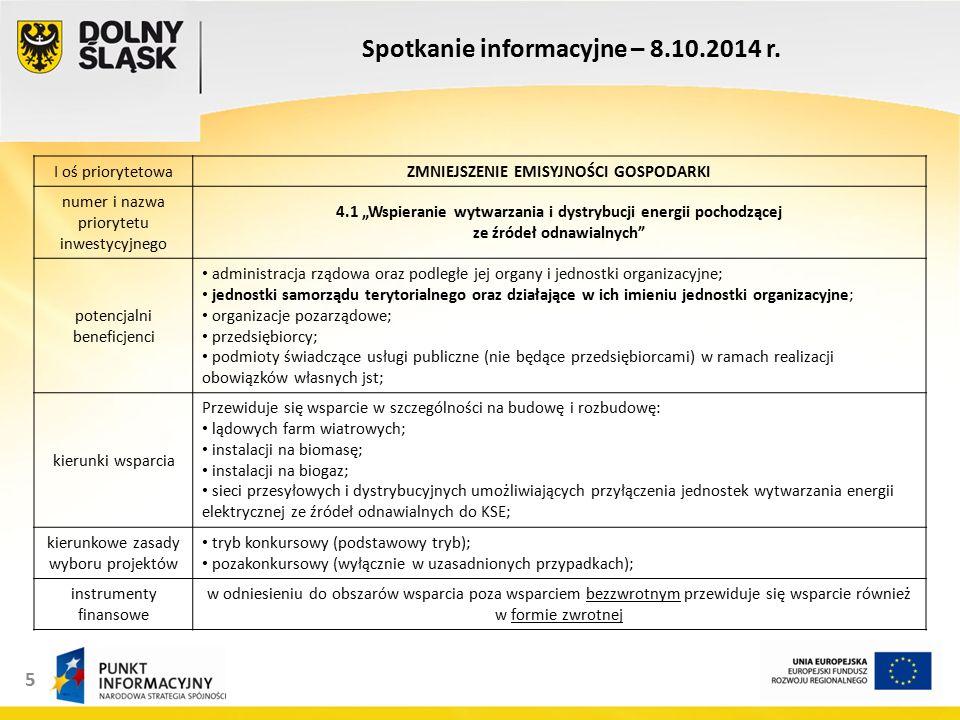 5 Spotkanie informacyjne – 8.10.2014 r.