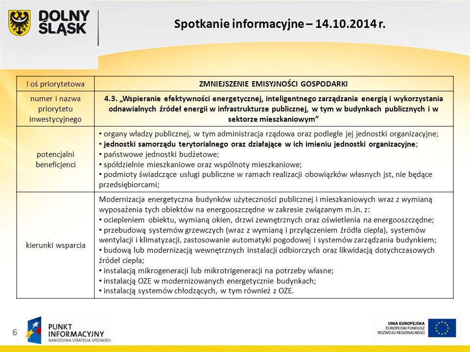 6 Spotkanie informacyjne – 14.10.2014 r.