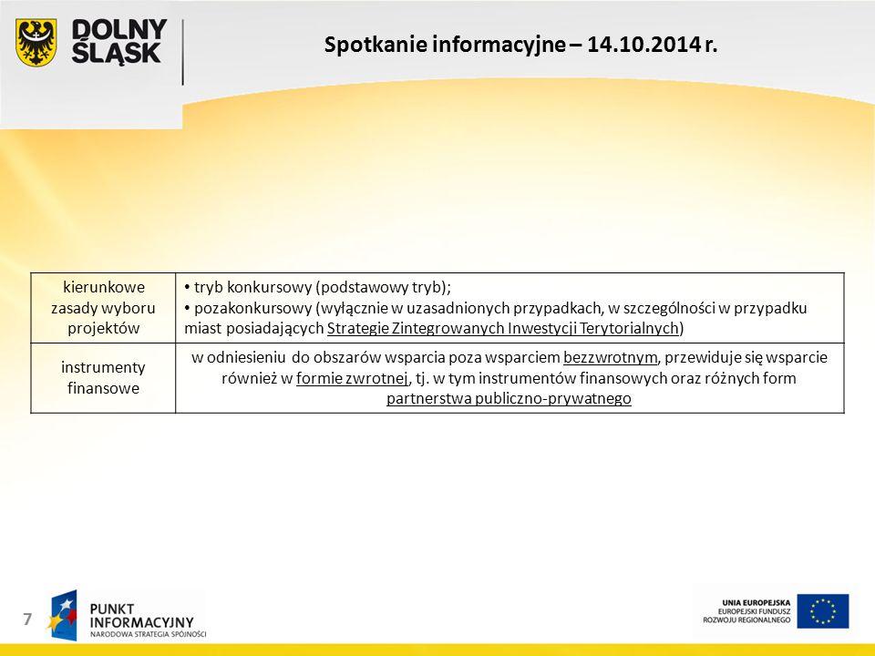8 Spotkanie informacyjne – 14.10.2014 r.