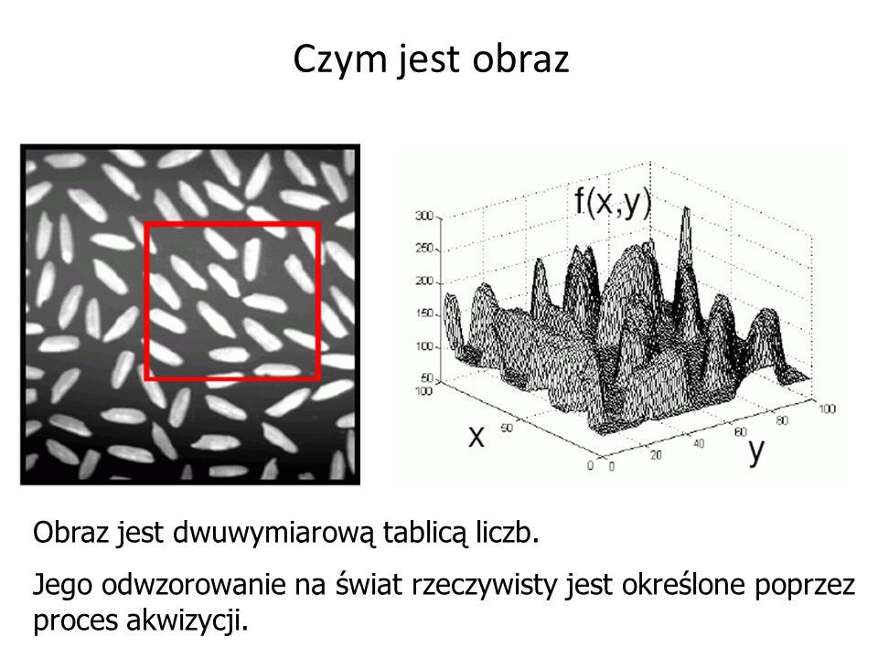Czym jest obraz Obraz jest dwuwymiarową tablicą liczb. Jego odwzorowanie na świat rzeczywisty jest określone poprzez proces akwizycji.