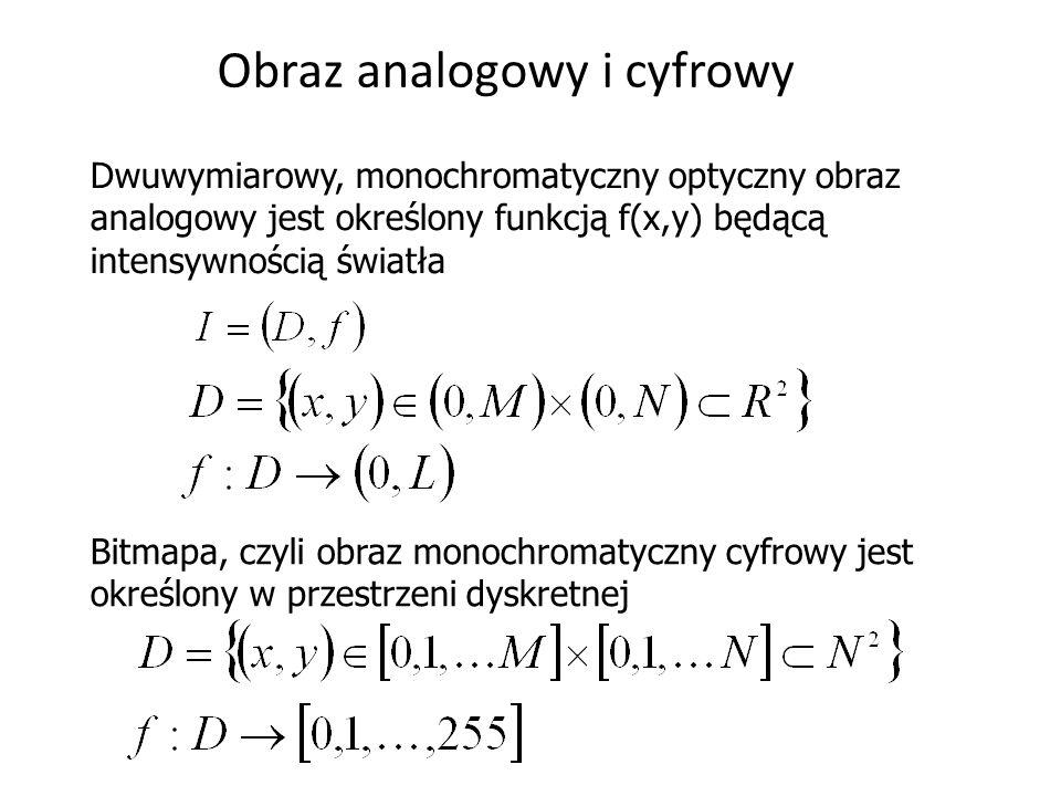 Obraz analogowy i cyfrowy Dwuwymiarowy, monochromatyczny optyczny obraz analogowy jest określony funkcją f(x,y) będącą intensywnością światła Bitmapa,
