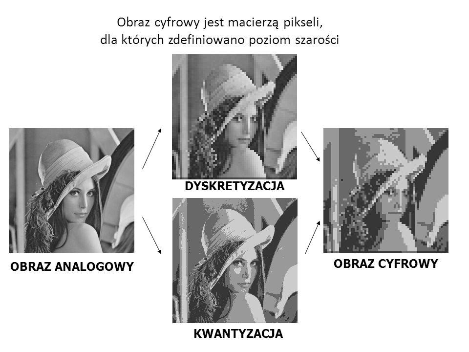 Obraz cyfrowy jest macierzą pikseli, dla których zdefiniowano poziom szarości DYSKRETYZACJA OBRAZ CYFROWY OBRAZ ANALOGOWY KWANTYZACJA