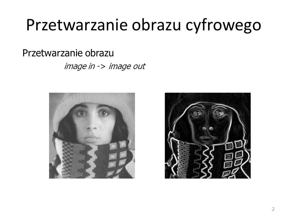 Przetwarzanie obrazu cyfrowego 2 image in -> image out Przetwarzanie obrazu
