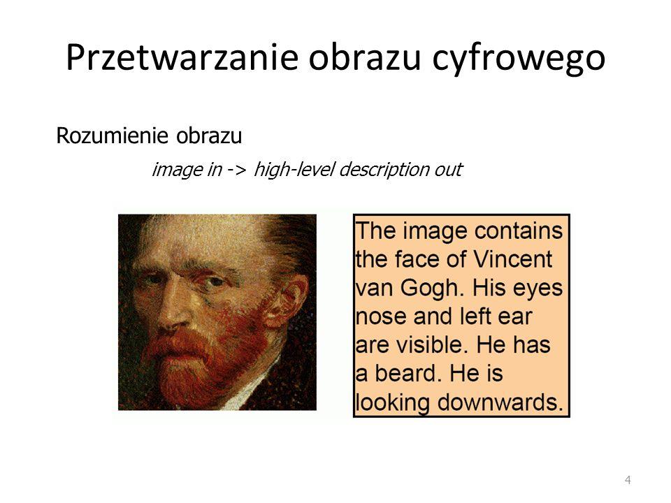 4 Przetwarzanie obrazu cyfrowego image in -> high-level description out Rozumienie obrazu