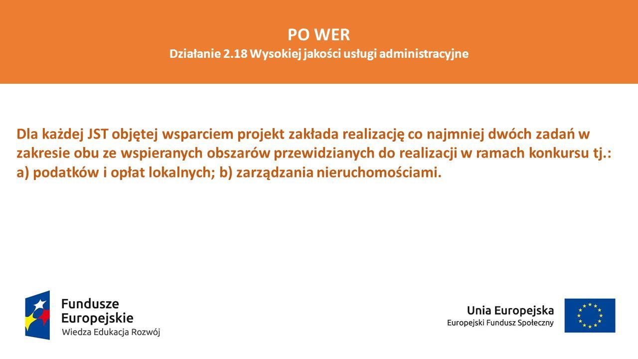 PO WER Działanie 2.18 Wysokiej jakości usługi administracyjne Kryteria premiujące Wniosek o dofinansowanie został złożony przez jednostkę samorządu terytorialnego – 5 pkt JST będąca wnioskodawcą albo partnerem ma wdrożony w urzędzie elektroniczny system zarządzania dokumentami (EZD) lub elektroniczny system obiegu dokumentów (ESOD) na dzień ogłoszenia konkursu – 2 pkt/JST; max.