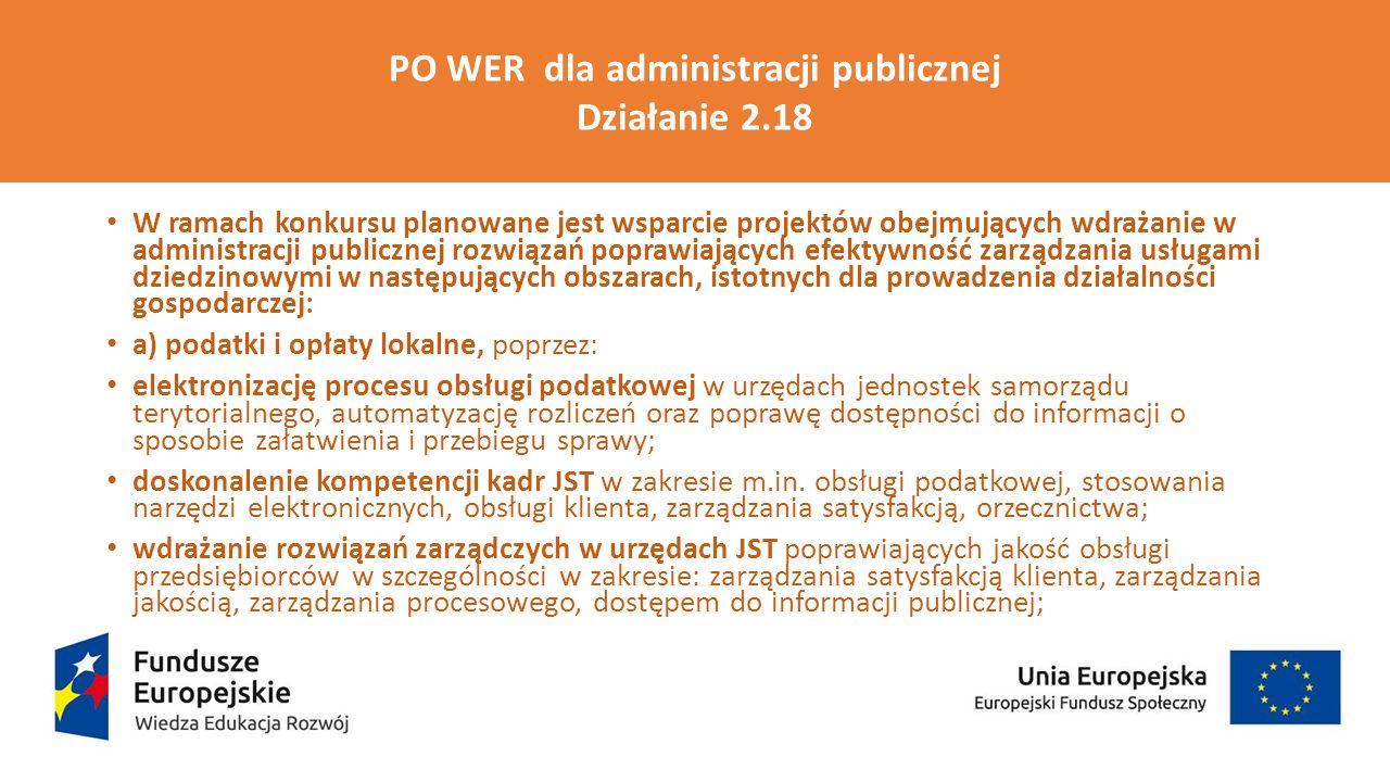 PO WER Działanie 2.18 Wysokiej jakości usługi administracyjne b) zarządzanie nieruchomościami, w szczególności w zakresie gospodarowania lokalami użytkowanymi, poprzez: wdrażanie rozwiązań w JST poprawiających dostęp do usług administracyjnych oraz informacji o lokalach użytkowych i nieruchomościach gruntowych przeznaczonych pod inwestycje, poprawa obsługi klienta z wykorzystaniem m.in.