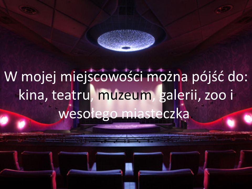 W mojej miejscowości można pójść do: kina, teatru, muzeum, galerii, zoo i wesołego miasteczka.
