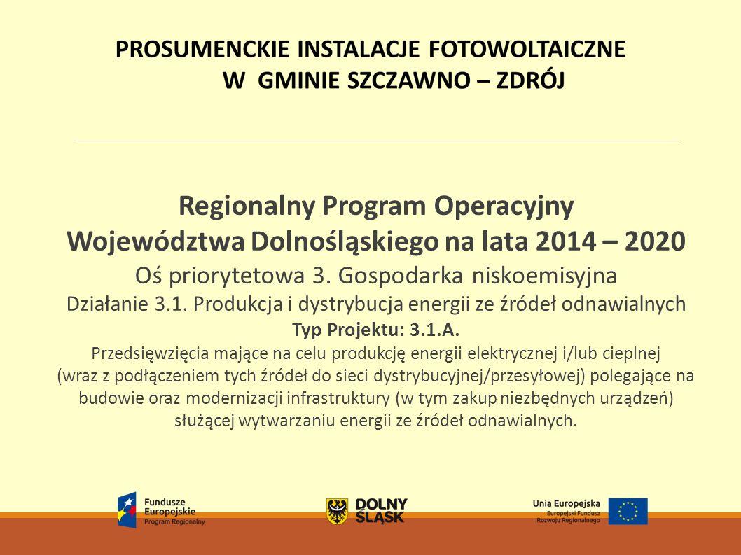 Regionalny Program Operacyjny Województwa Dolnośląskiego na lata 2014 – 2020 Oś priorytetowa 3. Gospodarka niskoemisyjna Działanie 3.1. Produkcja i dy