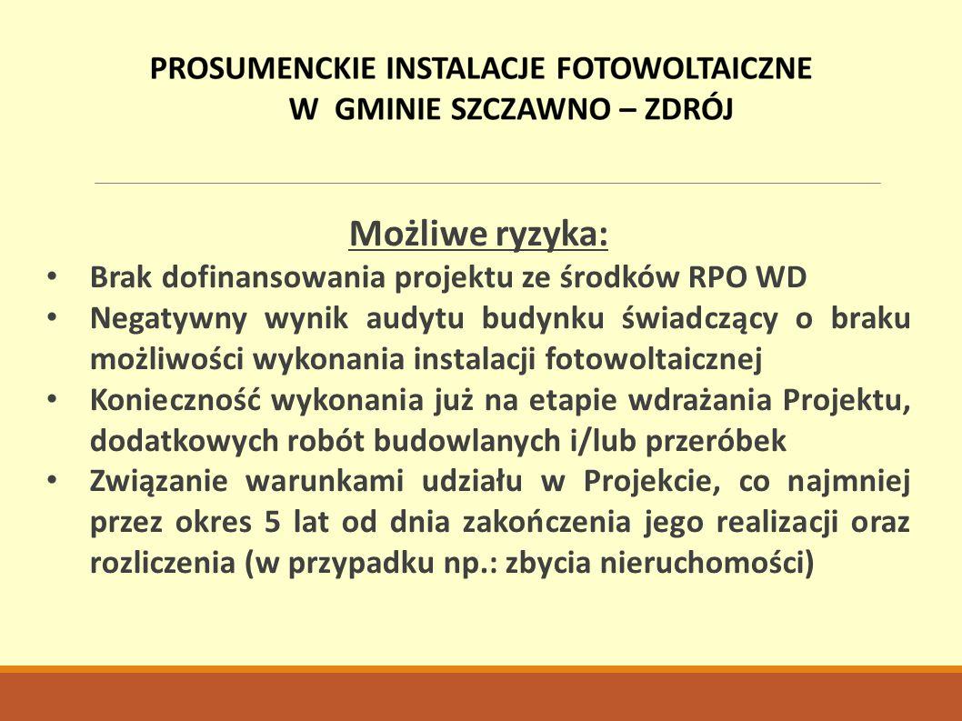 Możliwe ryzyka: Brak dofinansowania projektu ze środków RPO WD Negatywny wynik audytu budynku świadczący o braku możliwości wykonania instalacji fotow