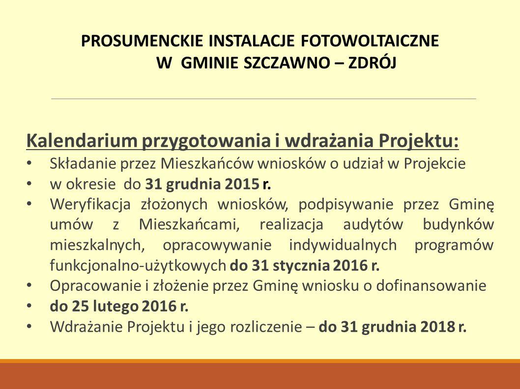 Kalendarium przygotowania i wdrażania Projektu: Składanie przez Mieszkańców wniosków o udział w Projekcie w okresie do 31 grudnia 2015 r.