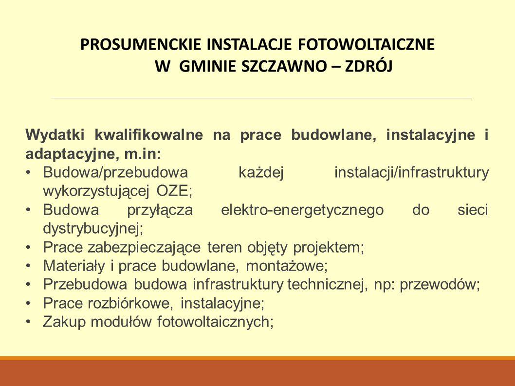 Wydatki kwalifikowalne na prace budowlane, instalacyjne i adaptacyjne, m.in: Budowa/przebudowa każdej instalacji/infrastruktury wykorzystującej OZE; B