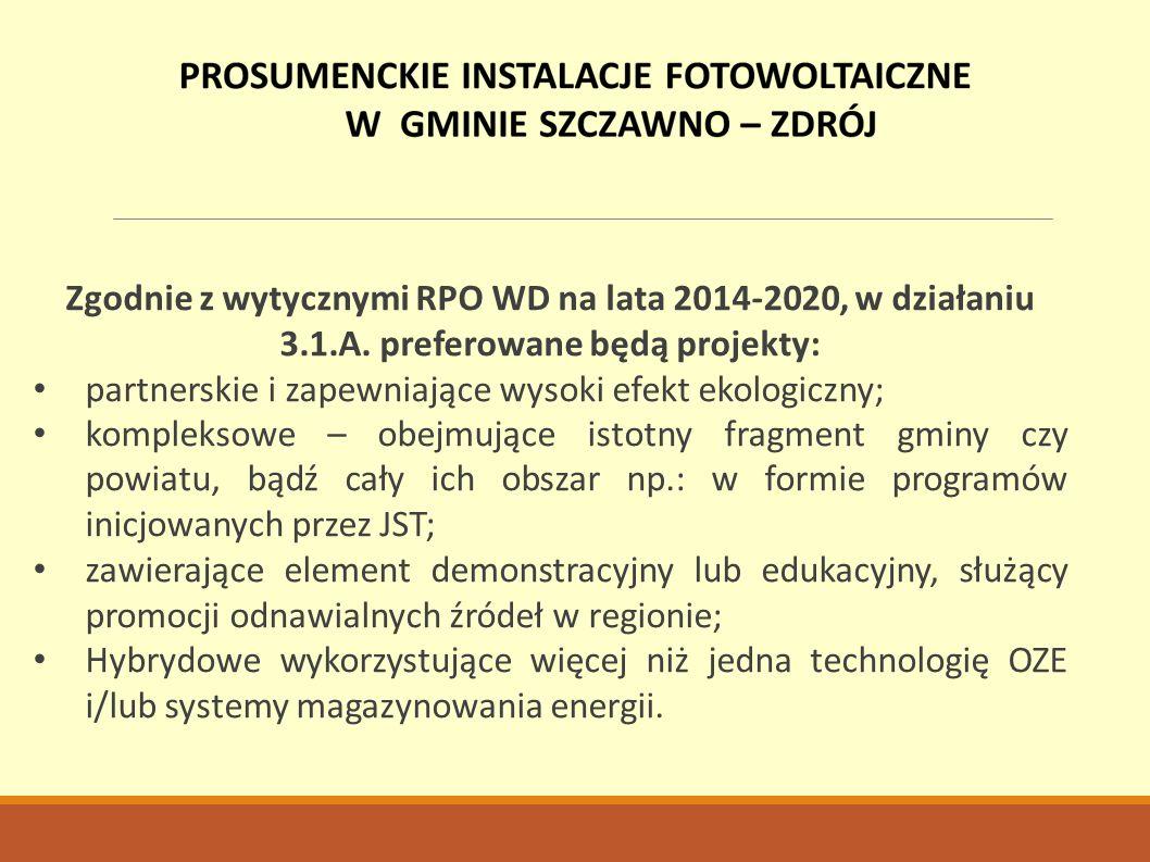 Zgodnie z wytycznymi RPO WD na lata 2014-2020, w działaniu 3.1.A. preferowane będą projekty: partnerskie i zapewniające wysoki efekt ekologiczny; komp