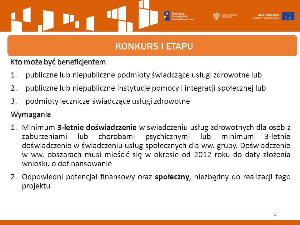 KONKURS I ETAPU Kto może być beneficjentem 1.publiczne lub niepubliczne podmioty świadczące usługi zdrowotne lub 2.publiczne lub niepubliczne instytucje pomocy i integracji społecznej lub 3.podmioty lecznicze świadczące usługi zdrowotneWymagania 1.Minimum 3-letnie doświadczenie w świadczeniu usług zdrowotnych dla osób z zaburzeniami lub chorobami psychicznymi lub minimum 3-letnie doświadczenie w świadczeniu usług społecznych dla ww.