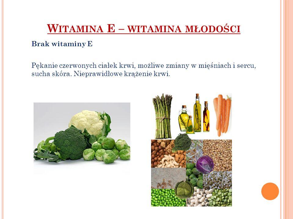 Brak witaminy E Pękanie czerwonych ciałek krwi, możliwe zmiany w mięśniach i sercu, sucha skóra. Nieprawidłowe krążenie krwi.