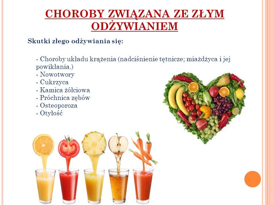 CHOROBY ZWIĄZANA ZE ZŁYM ODŻYWIANIEM Skutki złego odżywiania się: - Choroby układu krążenia (nadciśnienie tętnicze; miażdżyca i jej powikłania.) - Now