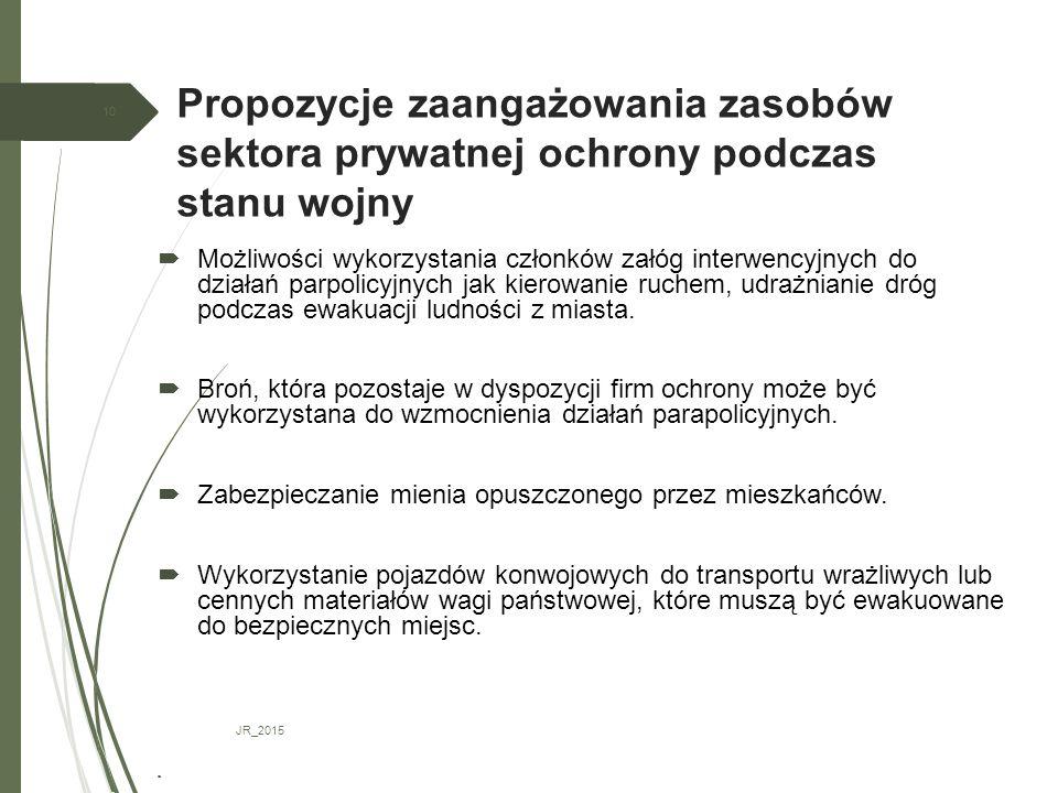 Propozycje zaangażowania zasobów sektora prywatnej ochrony podczas stanu wojny JR_2015 10  Możliwości wykorzystania członków załóg interwencyjnych do działań parpolicyjnych jak kierowanie ruchem, udrażnianie dróg podczas ewakuacji ludności z miasta.