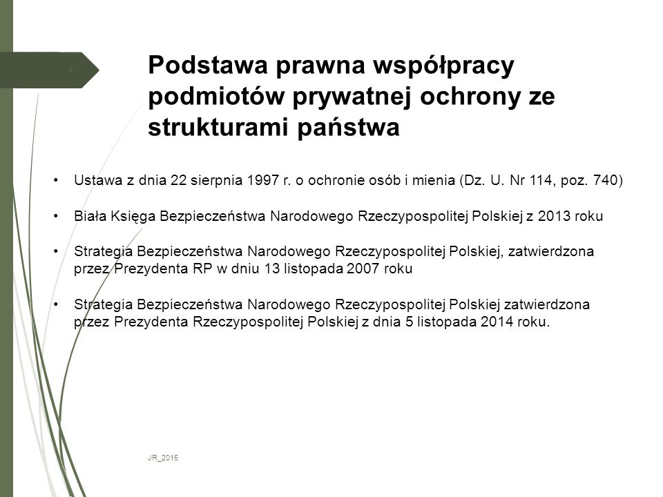 Podstawa prawna współpracy podmiotów prywatnej ochrony ze strukturami państwa JR_2015 4 Ustawa z dnia 22 sierpnia 1997 r. o ochronie osób i mienia (Dz