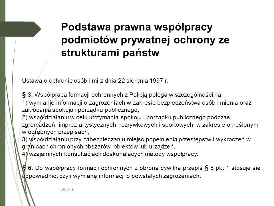 Podstawa prawna współpracy podmiotów prywatnej ochrony ze strukturami państw JR_2015 6 Ustawa o ochronie osób i mi z dnia 22 sierpnia 1997 r. § 3. Wsp