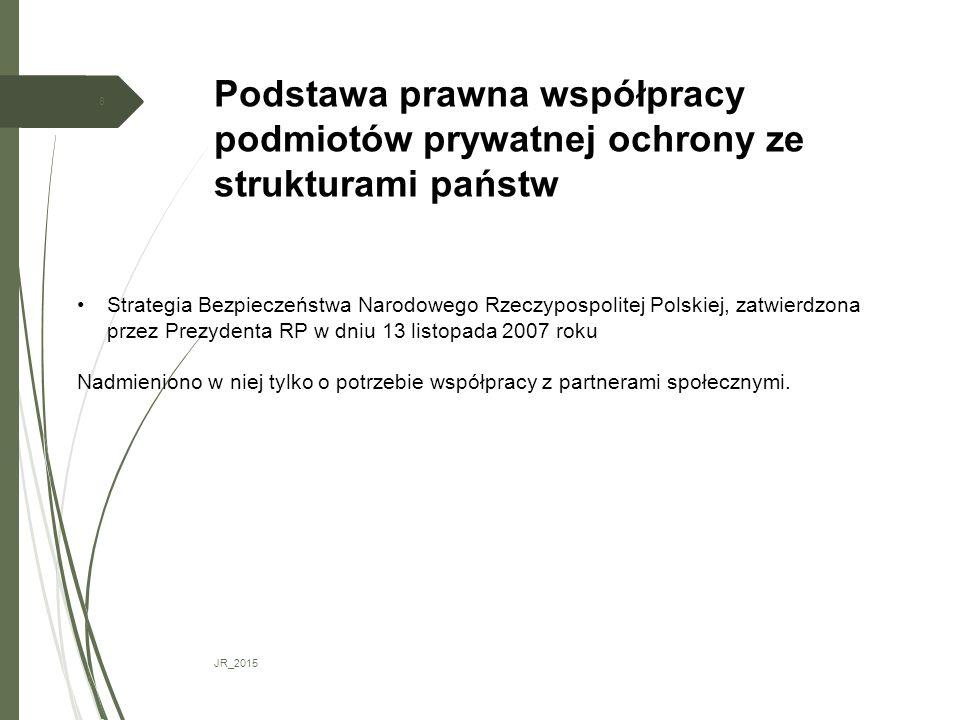 Podstawa prawna współpracy podmiotów prywatnej ochrony ze strukturami państw JR_2015 8 Strategia Bezpieczeństwa Narodowego Rzeczypospolitej Polskiej, zatwierdzona przez Prezydenta RP w dniu 13 listopada 2007 roku Nadmieniono w niej tylko o potrzebie współpracy z partnerami społecznymi.