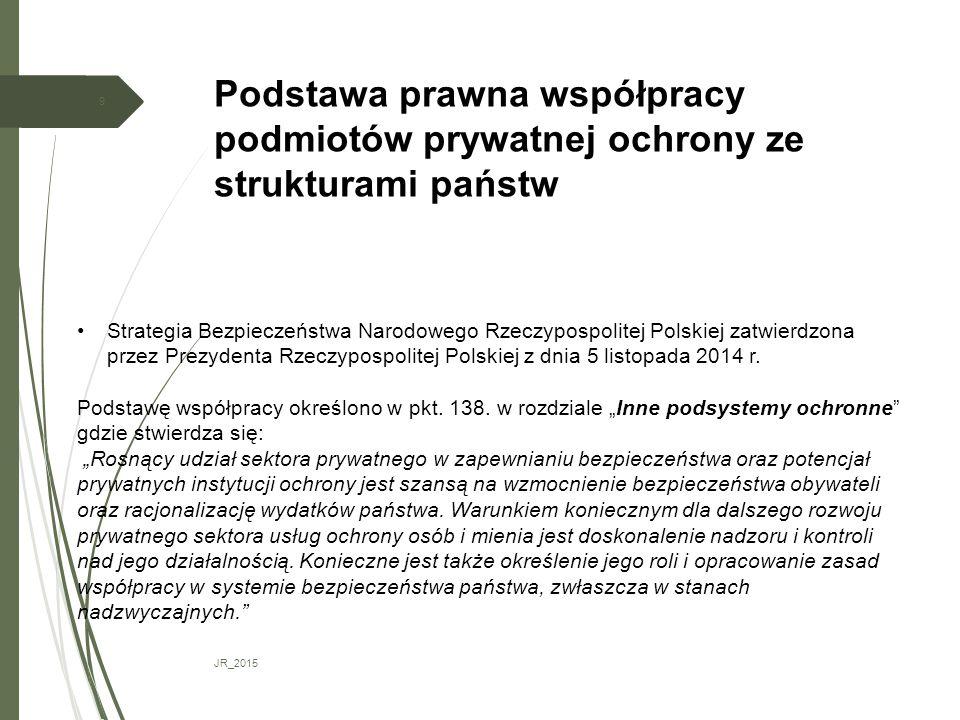 Podstawa prawna współpracy podmiotów prywatnej ochrony ze strukturami państw JR_2015 9 Strategia Bezpieczeństwa Narodowego Rzeczypospolitej Polskiej z
