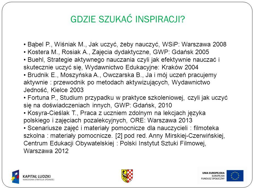 GDZIE SZUKAĆ INSPIRACJI? Bąbel P., Wiśniak M., Jak uczyć, żeby nauczyć, WSiP: Warszawa 2008 Kostera M., Rosiak A., Zajęcia dydaktyczne, GWP: Gdańsk 20