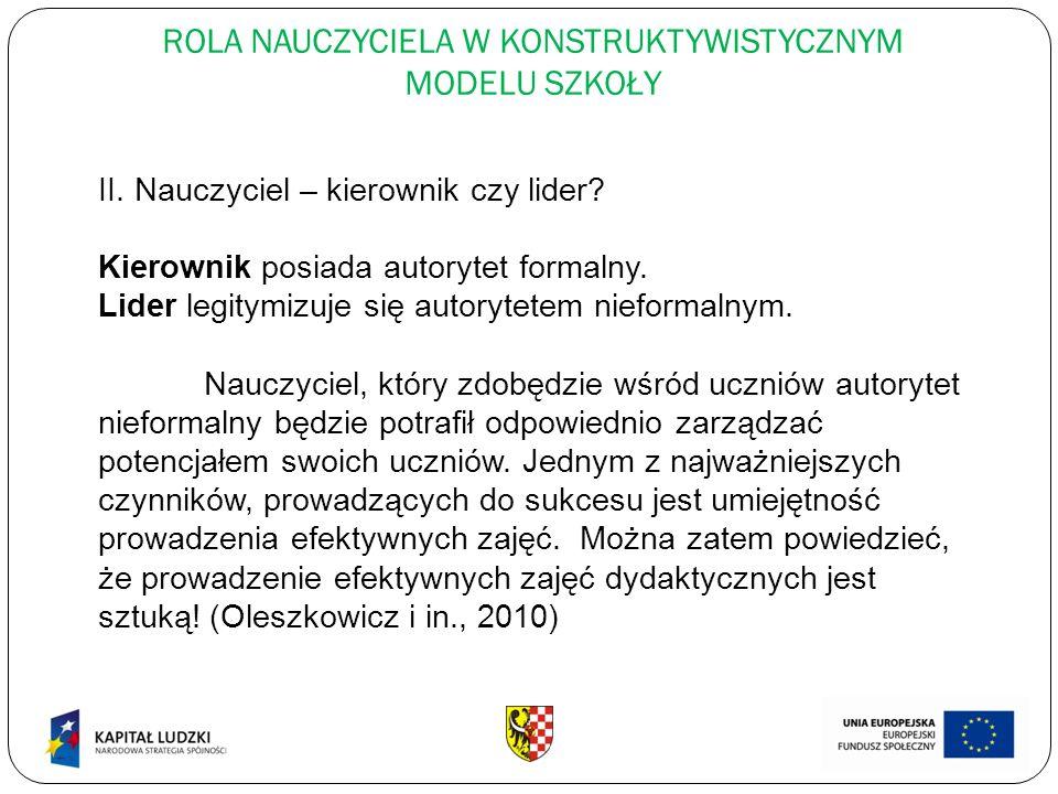 ROLA NAUCZYCIELA W KONSTRUKTYWISTYCZNYM MODELU SZKOŁY II.