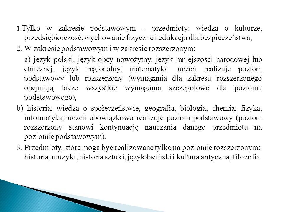 1. Tylko w zakresie podstawowym – przedmioty: wiedza o kulturze, przedsiębiorczość, wychowanie fizyczne i edukacja dla bezpieczeństwa, 2. W zakresie p