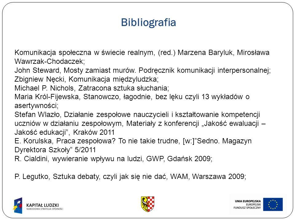 Bibliografia Komunikacja społeczna w świecie realnym, (red.) Marzena Baryluk, Mirosława Wawrzak-Chodaczek; John Steward, Mosty zamiast murów. Podręczn