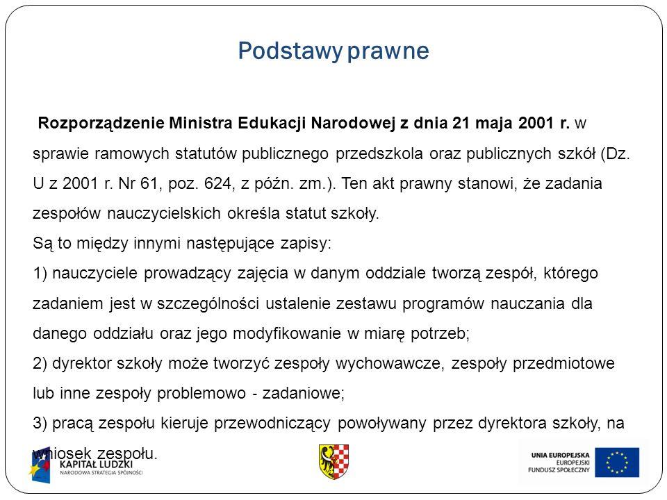 Podstawy prawne Rozporządzenie Ministra Edukacji Narodowej z dnia 21 maja 2001 r. w sprawie ramowych statutów publicznego przedszkola oraz publicznych
