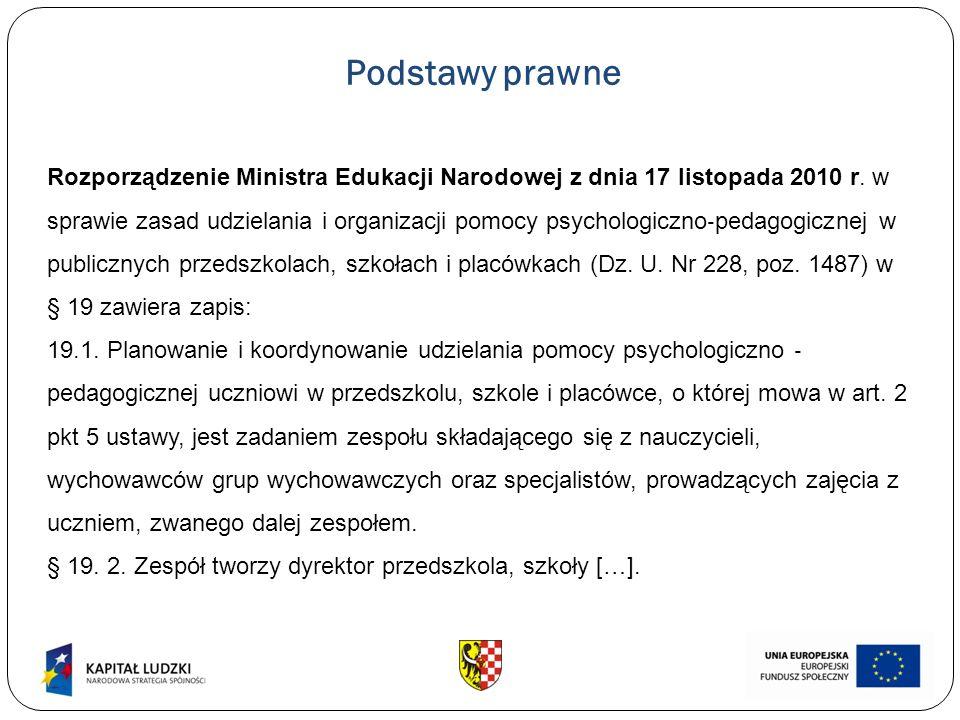 Podstawy prawne Rozporządzenie Ministra Edukacji Narodowej z dnia 17 listopada 2010 r. w sprawie zasad udzielania i organizacji pomocy psychologiczno