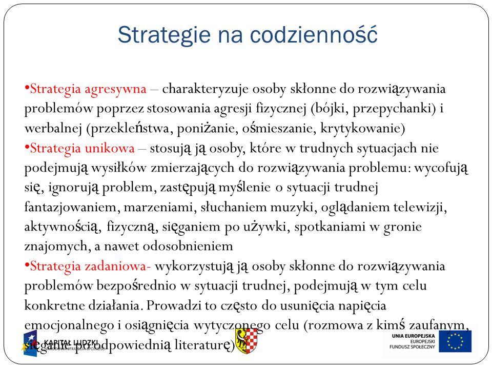 Strategie na codzienność Strategia agresywna – charakteryzuje osoby skłonne do rozwi ą zywania problemów poprzez stosowania agresji fizycznej (bójki, przepychanki) i werbalnej (przekle ń stwa, poni ż anie, o ś mieszanie, krytykowanie) Strategia unikowa – stosuj ą j ą osoby, które w trudnych sytuacjach nie podejmuj ą wysiłków zmierzaj ą cych do rozwi ą zywania problemu: wycofuj ą si ę, ignoruj ą problem, zast ę puj ą my ś lenie o sytuacji trudnej fantazjowaniem, marzeniami, słuchaniem muzyki, ogl ą daniem telewizji, aktywno ś ci ą, fizyczn ą, si ę ganiem po u ż ywki, spotkaniami w gronie znajomych, a nawet odosobnieniem Strategia zadaniowa- wykorzystuj ą j ą osoby skłonne do rozwi ą zywania problemów bezpo ś rednio w sytuacji trudnej, podejmuj ą w tym celu konkretne działania.