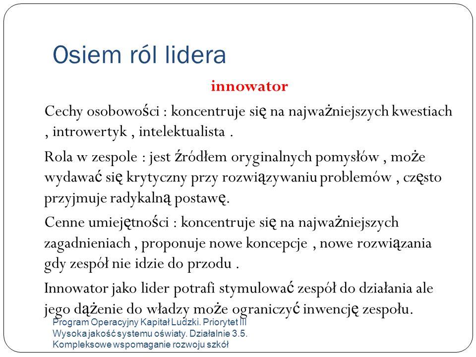 Osiem ról lidera innowator Cechy osobowo ś ci : koncentruje si ę na najwa ż niejszych kwestiach, introwertyk, intelektualista. Rola w zespole : jest ź