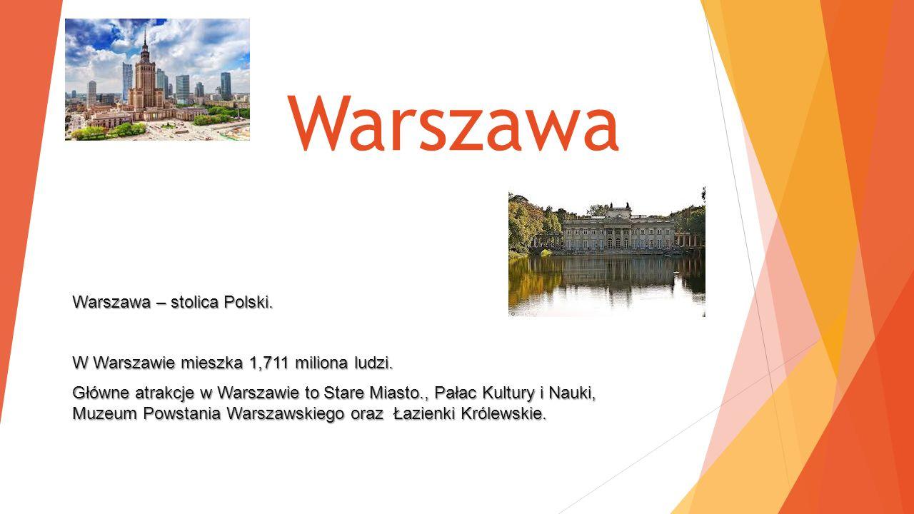 Warszawa Warszawa – stolica Polski.W Warszawie mieszka 1,711 miliona ludzi.