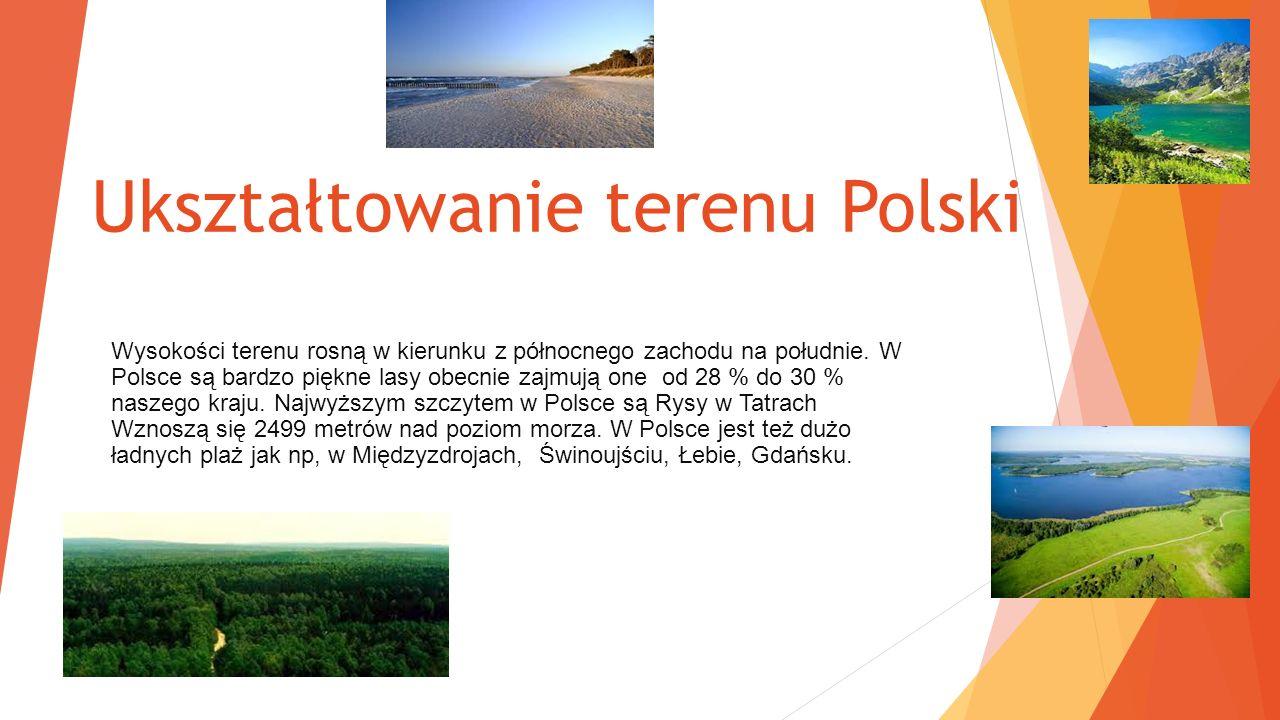 Ukształtowanie terenu Polski Wysokości terenu rosną w kierunku z północnego zachodu na południe.